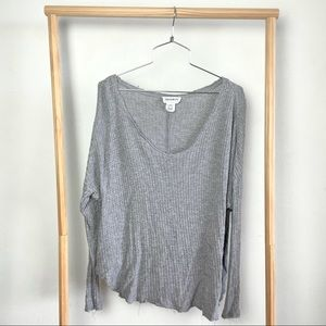 For the Republic Gray Knit V Neck Sweater M